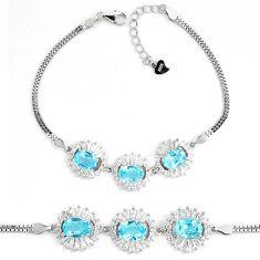 11.01cts natural blue topaz white topaz 925 sterling silver bracelet c19665