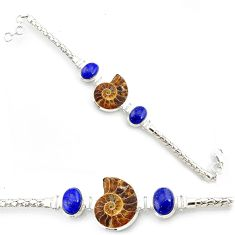 54.31cts natural brown ammonite fossil lapis lazuli 925 silver bracelet r72994