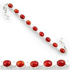 38.46cts natural brown jasper red 925 sterling silver tennis bracelet d44326