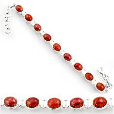 Clearance Sale- 38.92cts natural brown jasper red 925 sterling silver tennis bracelet d44327