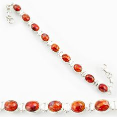 Clearance Sale- 38.92cts natural brown pietersite (african) 925 silver tennis bracelet d44305