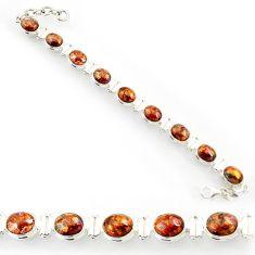 37.86cts natural brown pietersite (african) 925 silver tennis bracelet d44306