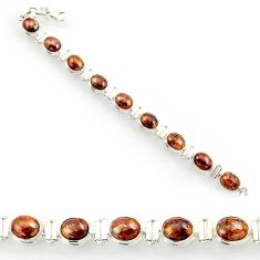Clearance Sale- 37.43cts natural brown pietersite (african) 925 silver tennis bracelet d44307