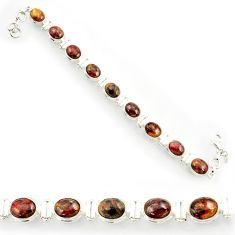 Clearance Sale- 37.43cts natural brown pietersite (african) 925 silver tennis bracelet d44308