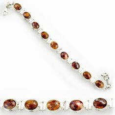 Clearance Sale- 37.86cts natural brown pietersite (african) 925 silver tennis bracelet d44310
