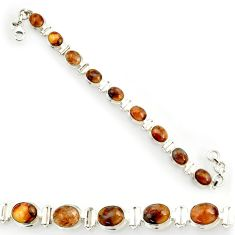 Clearance Sale- 37.43cts natural brown pietersite (african) 925 silver tennis bracelet d44311