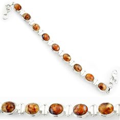 Clearance Sale- 37.43cts natural brown pietersite (african) 925 silver tennis bracelet d44314