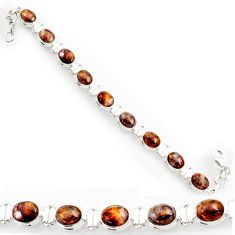 Clearance Sale- 37.45cts natural brown pietersite (african) 925 silver tennis bracelet d44315
