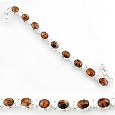 37.43cts natural brown pietersite (african) 925 silver tennis bracelet r72981