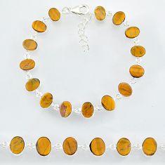23.82cts natural brown tiger's eye 925 sterling handmade silver bracelet r88264