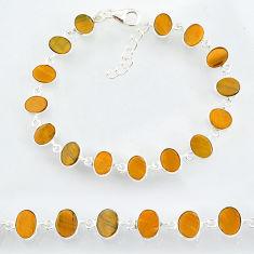 21.90cts natural brown tiger's eye 925 sterling handmade silver bracelet r88271