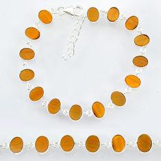20.10cts natural brown tiger's eye 925 sterling handmade silver bracelet r88272