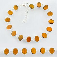22.69cts natural brown tiger's eye 925 sterling handmade silver bracelet r88273