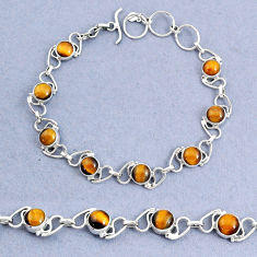 15.95cts natural brown tiger's eye 925 sterling silver bracelet jewelry t8468