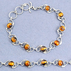 15.72cts natural brown tiger's eye 925 sterling silver bracelet jewelry t8469