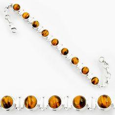 28.83cts natural brown tiger's eye 925 sterling silver tennis bracelet d44322