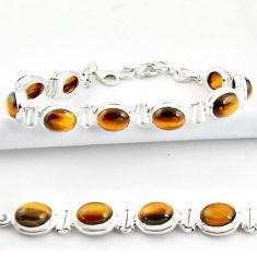 38.31cts natural brown tiger's eye 925 sterling silver tennis bracelet r39002
