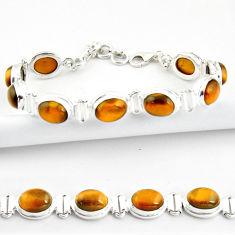 37.43cts natural brown tiger's eye 925 sterling silver tennis bracelet r39005
