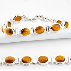 39.01cts natural brown tiger's eye 925 sterling silver tennis bracelet r39006
