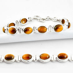 38.31cts natural brown tiger's eye 925 sterling silver tennis bracelet r39008