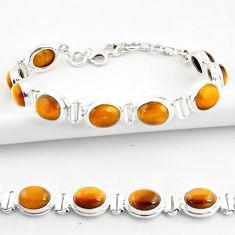 38.31cts natural brown tiger's eye 925 sterling silver tennis bracelet r39035