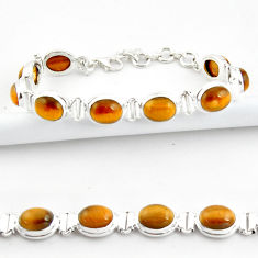 38.19cts natural brown tiger's eye 925 sterling silver tennis bracelet r39036
