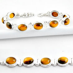 38.72cts natural brown tiger's eye 925 sterling silver tennis bracelet r39037