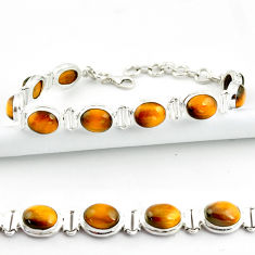 37.43cts natural brown tiger's eye 925 sterling silver tennis bracelet r39039