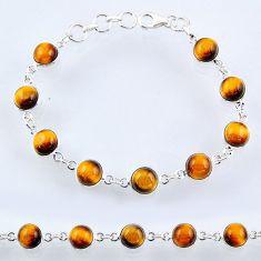 26.52cts natural brown tiger's eye 925 sterling silver tennis bracelet r55096