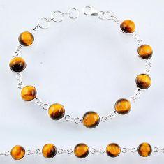 26.61cts natural brown tiger's eye 925 sterling silver tennis bracelet r55097