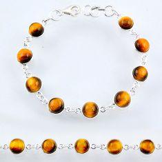 26.52cts natural brown tiger's eye 925 sterling silver tennis bracelet r55100