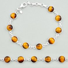 23.68cts natural brown tiger's eye 925 sterling silver tennis bracelet t19691