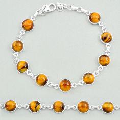 24.92cts natural brown tiger's eye 925 sterling silver tennis bracelet t19692