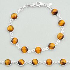 24.38cts natural brown tiger's eye 925 sterling silver tennis bracelet t19693
