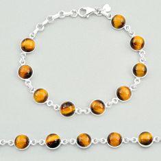 24.73cts natural brown tiger's eye 925 sterling silver tennis bracelet t19695