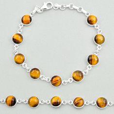 23.57cts natural brown tiger's eye 925 sterling silver tennis bracelet t19696