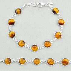 23.11cts natural brown tiger's eye 925 sterling silver tennis bracelet t19697