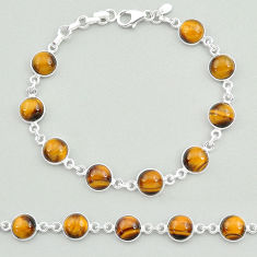 24.35cts natural brown tiger's eye 925 sterling silver tennis bracelet t19699