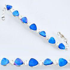30.04cts natural doublet opal australian fancy silver tennis bracelet r56545