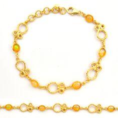 7.42cts natural ethiopian opal 925 silver 14k gold tennis bracelet r31442