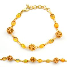 11.95cts natural ethiopian opal 925 silver 14k gold tennis bracelet r31443
