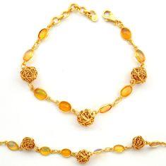 12.54cts natural ethiopian opal 925 silver 14k gold tennis bracelet r31445