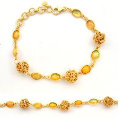 12.30cts natural ethiopian opal 925 silver 14k gold tennis bracelet r31446