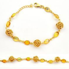 11.61cts natural ethiopian opal 925 silver 14k gold tennis bracelet r31449