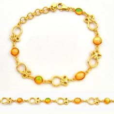 7.82cts natural ethiopian opal 925 silver 14k gold tennis bracelet r31450