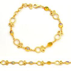 7.62cts natural ethiopian opal 925 silver 14k gold tennis bracelet r31451
