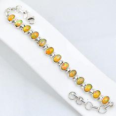 19.14cts natural ethiopian opal 925 sterling silver tennis bracelet r59454