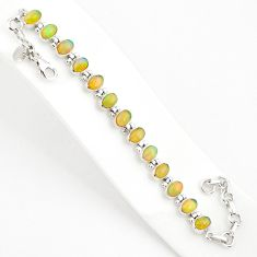 19.91cts natural ethiopian opal 925 sterling silver tennis bracelet r75271