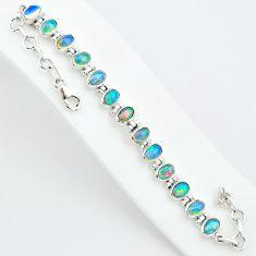 18.71cts natural ethiopian opal 925 sterling silver tennis bracelet t5882
