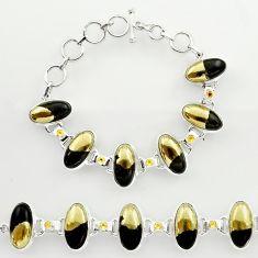 56.75cts natural golden pyrite in magnetite 925 silver tennis bracelet r27451